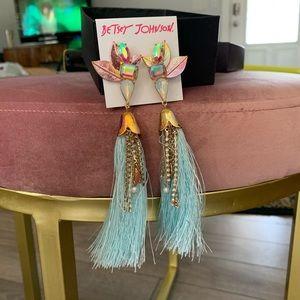 Betsey Johnson Tassel Jeweled Earrings
